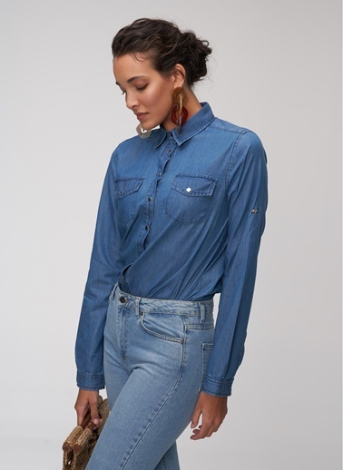 People By Fabrika Cep Detaylı Gömlek Mavi